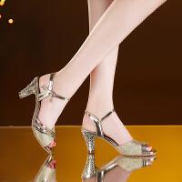 2019夏季新款凉鞋女夏天中跟百搭粗跟水钻高跟网红女鞋