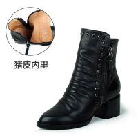 【旭阳奇琪】秋冬尖头双拉链马丁靴欧美时尚柳钉水钻粗跟短靴女