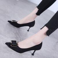 春秋新款鞋子女学生韩版高跟鞋女2019细跟尖头搭扣黑色工作单鞋女