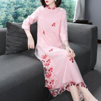 改良旗袍2018秋季女新款复古女装民族风粉色长袖刺绣中国风连衣裙