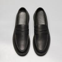 男士皮鞋夏季一脚蹬商务休闲鞋透气韩版英伦豆豆鞋男百搭软底懒人鞋子 黑色