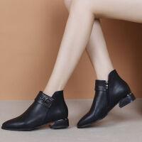 新款粗跟短靴女百搭单靴2019秋冬加绒中跟马丁靴裸靴 黑色 单款T816