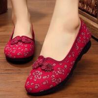 老北京布鞋女老年奶奶平底�底老太太夏季����鞋透�獬烤�散步