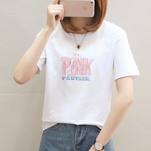 短袖t恤女夏装新款韩版学生宽松体恤圆领半袖上衣服