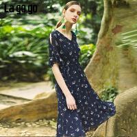 【5折价239.5】Lagogo/拉谷谷预售2019夏季新款蝴蝶结印花连衣裙女IALL303G03
