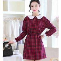 连衣裙 新款韩版修身娃娃领女大码中长款女时尚长袖日韩红格子连衣裙