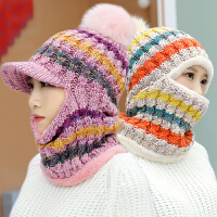 冬季帽子女帽子围脖一体连体帽防风针织毛线帽