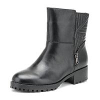 Fondberyl/菲伯丽尔 冬款牛皮绒里圆头中跟短靴女鞋FB54113536