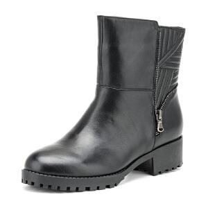 【3折到手价149.7元】Fondberyl/菲伯丽尔 冬款牛皮绒里圆头中跟短靴女鞋FB54113536