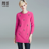 颜域 品牌女装2017冬装新款时尚钉珠九分袖圆领针织打底衫毛衣女