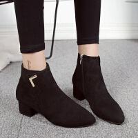 女鞋马丁靴子2019冬季新款韩版百搭平底尖头短靴粗跟低跟切尔西靴