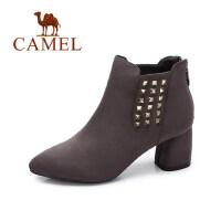 camel 骆驼女鞋 2017秋冬新品优雅摩登街拍铆钉尖头方跟靴绒面高跟短靴