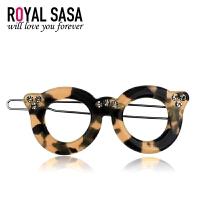 皇家莎莎Royalsasa时尚发饰品头饰水墨豹纹眼镜发夹韩版韩式刘海边夹HFS509502