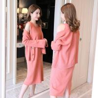 2019新款韩版时尚毛衣开衫孕妇半身裙子两件套装孕妇秋冬装连衣裙