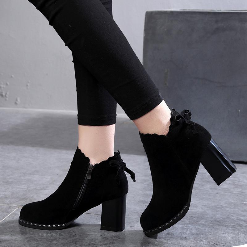 2019韩版新款英伦及踝靴百搭女靴高跟短靴女鞋秋冬季马丁粗跟裸靴