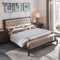 优梵艺术 Carpa美式皮艺床实木双人大床简约主卧室婚床小户型家具
