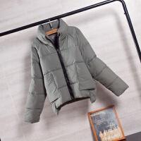 短款女冬季2018新款韩版高领羽绒棉衣外套面包服 绿色 L
