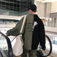 春装新品情侣卫衣连帽男款运动外套韩版潮流学生宽松撞色拼接
