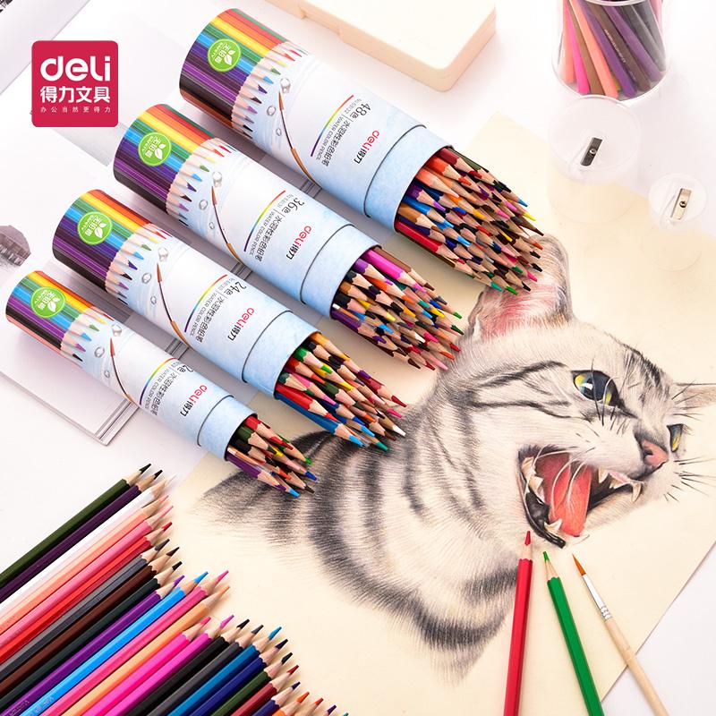 得力油溶性彩铅画笔彩笔彩色铅笔专业画画套装成人手绘套装36色48色绘画绘图填色铅笔学生幼儿园美术用品工具12色24色