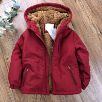 男童加绒棉衣儿童装保暖连帽夹棉外套