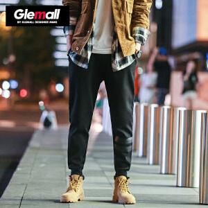 森马潮牌GLEMALL 加厚休闲裤男条纹印花简约舒适运动裤保暖