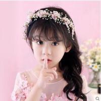 韩版儿童手工花朵镶钻花环发饰儿童头饰公主演出配饰花童发卡  支持礼品卡支付