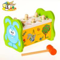 大号木质益智早教启蒙1-2-3岁婴幼儿童男女孩宝宝敲击打地鼠玩具