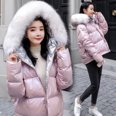 2018冬季新款女装韩版面包服短款小棉袄羽绒棉衣女流行外套女 粉色(正方两穿) M
