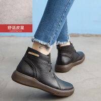 【头层牛皮】19新款平底短靴女春秋季英伦民族风复古百搭单靴