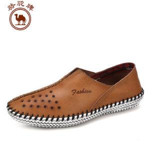 骆驼牌男鞋 夏季新品手工缝制休闲透气镂空皮鞋套脚低帮