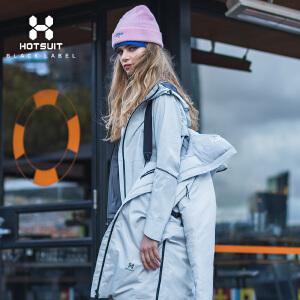 美国HOTSUIT羽绒服女2018冬季新款连帽外套长款保暖运动羽绒服6852005