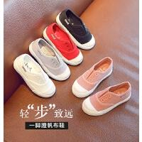 夏季女童帆布鞋男童板鞋 儿童一脚蹬布鞋