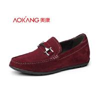 奥康新款豆豆鞋男士增高鞋反绒皮隐形内增高男鞋