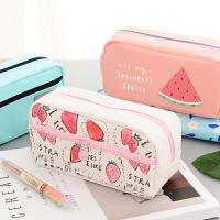 韩国可爱铅笔盒 简约硅胶帆布女大容量笔袋 创意初中小学生文具袋 文具盒