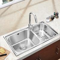 九牧(JOMOO)水槽双槽厨房洗菜盆水盆洗菜池304不锈钢洗碗槽配龙头02094/06108