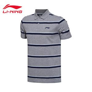 李宁短袖POLO衫男士运动生活系列吸湿纯棉翻领运动服APLM157