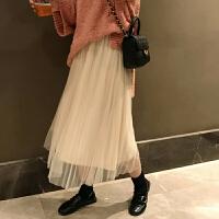 ins超火的裙子秋冬学生韩版网纱裙中长款A字裙半身裙女春黑色纱裙