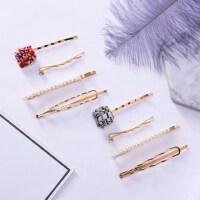 韩国金属珍珠发夹组合 极简甜美风刘海夹一字夹边夹发夹发卡发饰