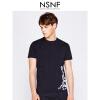 NSNF纯棉手绘装饰蛇图案黑色圆领T恤男修身  短袖t恤男装2017新款 修身圆领针织短袖