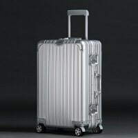 2018新款旅行箱铝框行李箱20寸登机箱子24/29寸男女托运拉杆箱 钻石款 银色