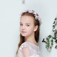 儿童礼服头饰 粉色花环 迪士尼公主皇冠发饰花童头饰六一演出走秀