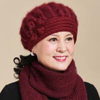 中老年人秋冬帽子女冬季保暖毛线帽妈妈奶奶老太太