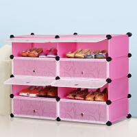 林仕屋简易鞋柜 防尘鞋架 组装双排组合多层树脂简约现代大容量