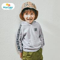 【1件2折】马卡乐童装上装男宝宝秋新品男童织带连帽长袖卫衣