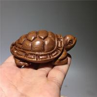 木雕乌龟手把件 实木富甲天下龟甲雕刻长寿龟摆件 7.8*5.4*3.3cm