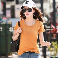 春夏新款半袖t��纯色圆领短袖t恤女修身韩版纯棉白色体恤衫潮WK7081
