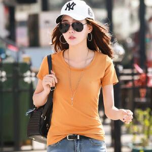 2017春夏新款半袖t��纯色圆领短袖t恤女修身韩版纯棉白色体恤衫潮WK7081