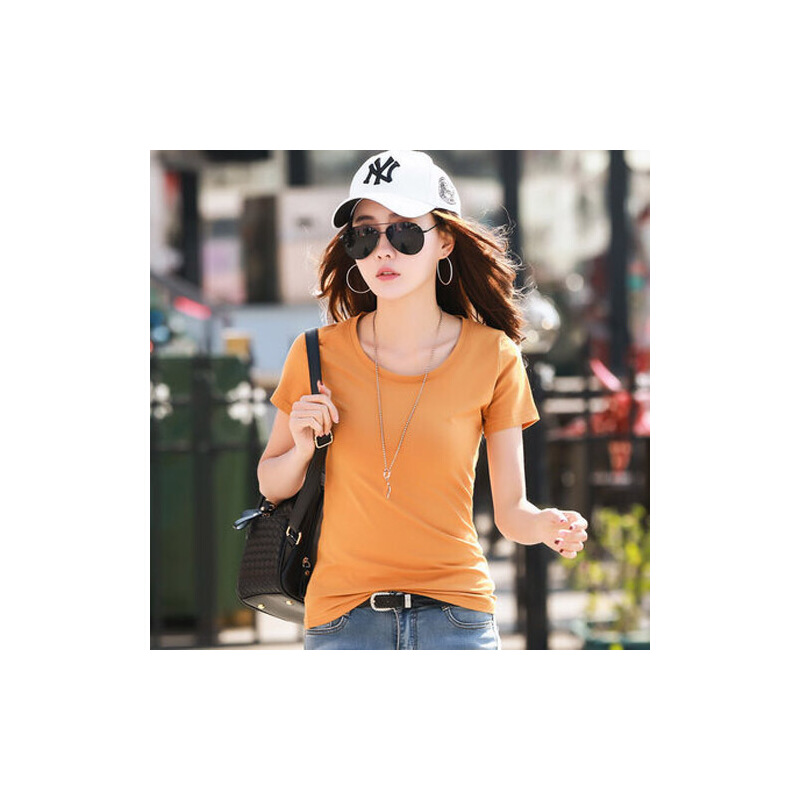 春夏新款半袖t桖纯色圆领短袖t恤女修身韩版纯棉白色体恤衫潮WK7081