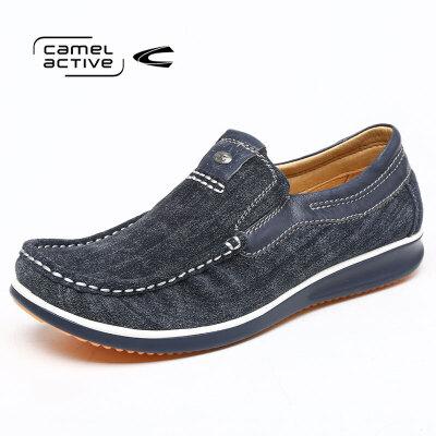 骆驼动感男士磨砂皮套脚日常休闲皮鞋乐福鞋