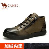 camel 骆驼男靴闲短靴男士皮靴冬季韩版潮流加绒保暖皮靴